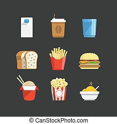 traditionnel, couleur, nourriture, collection, icônes
