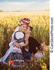 traditionnel, couple, amour, costumes, folklorique