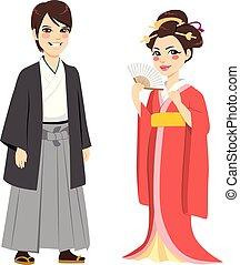 traditionnel, couple, japonaise