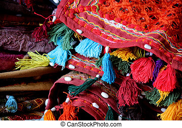 traditionnel, coussins, indien