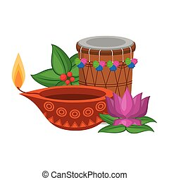 traditionnel, culture, indien, éléments, icône