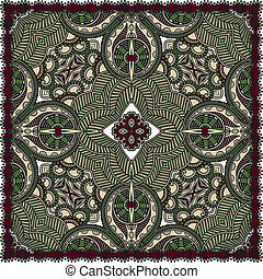 traditionnel, décoratif, paisley, floral, foulard