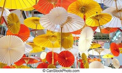 traditionnel, décorations, coloré, plafond, parapluies, ...