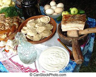traditionnel, dîner, ukrainien, repas, fête