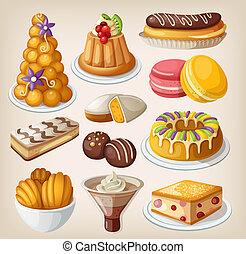 traditionnel, desserts, ensemble, francais