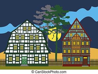 traditionnel, deux, petites maisons, nuit