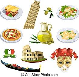 traditionnel, différent, éléments, venice., italie, voyage, style, symboles, vecteur, illustrations, dessin animé
