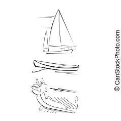 traditionnel, ensemble, bateau, collection