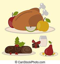 traditionnel, ensemble, illustration., nourriture, dessert, décoration noël, desserts, vecteur, doux, vacances, noël, célébration