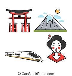 traditionnel, ensemble, japonaise