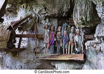 traditionnel, enterrement, site, tana, toraja