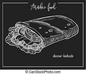 traditionnel, entiers, chiche-kebab, légumes, nourriture, grands conges, doner, isolé, coupé, salade verte, savoureux, mince, rencontrer, emballé, frais, arabe, pain pita