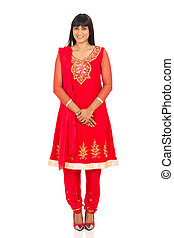 traditionnel, femme, habillement, indien, joli