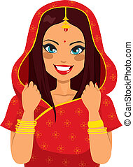 traditionnel, femme, indien