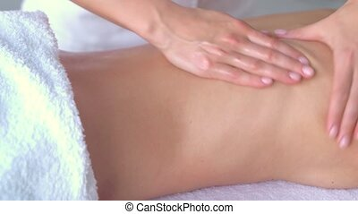 traditionnel, femme, spa., masser, jeune, osteopathy,...