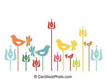 traditionnel, floral, motif, fond, hongrois