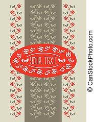 traditionnel, floral, motif, gabarit, hongrois