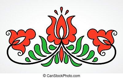 traditionnel, floral, motif, hongrois