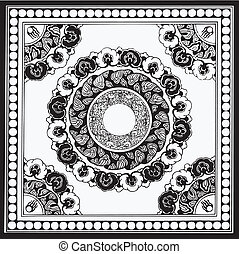 traditionnel, floral, vecteur, conception