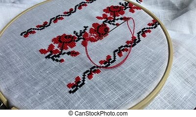 traditionnel, folklorique, broderie