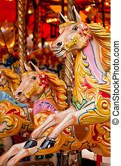 traditionnel, funfair, carrousel
