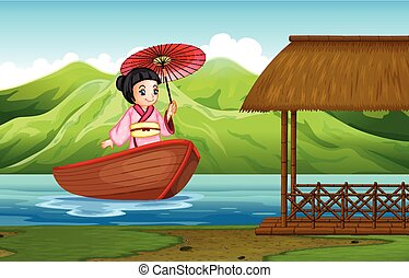 traditionnel, girl, japonaise, nature