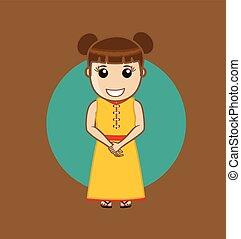 traditionnel, girl, robe, japonaise