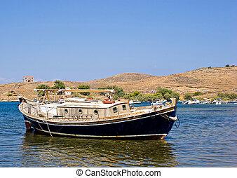 traditionnel, grec, bateau pêche