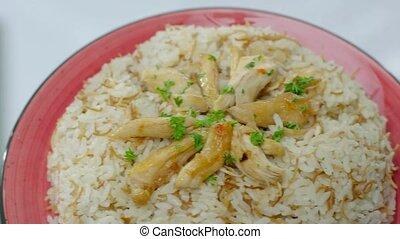 traditionnel, haché, sides., habillé, frit, saumure, riz, persil, poulet, légume, table, délicieux
