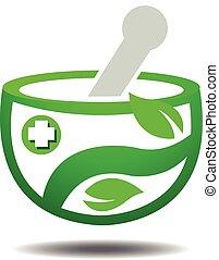 traditionnel, herbier, gabarit, logo