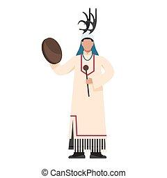 traditionnel, homme, amérindien, prayer., costumes., indien