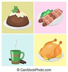 traditionnel, illustration., nourriture, doux, célébration, noël, décoration, desserts, vecteur, cartes, repas vacances, noël