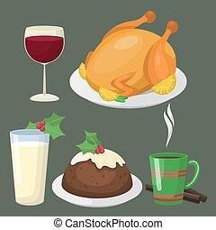 traditionnel, illustration., nourriture, doux, célébration, noël, décoration, desserts, vecteur, repas vacances, noël