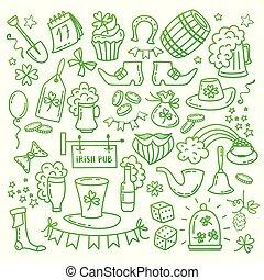traditionnel, irlandais, éléments, illustration., icônes, griffonnage, style, isolé, symboles, arrière-plan., s, vecteur, saint, dessiné, fête, blanc, main, jour, patrick