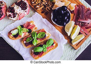 traditionnel, italien, antipasto