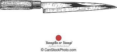 traditionnel, japonaise, couteau, cuisine