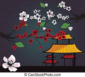 traditionnel, japonaise, paysage