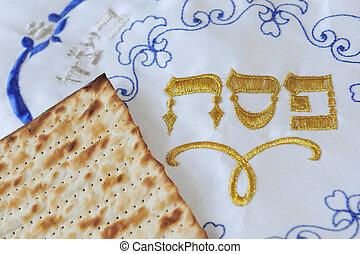 traditionnel, juif, matzo, feuille, sur, a, pâque, seder,...