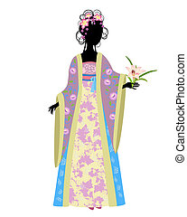 traditionnel, lis, femme, robe, chinois