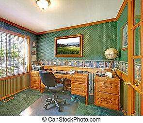 traditionnel, maison, vert, bureau