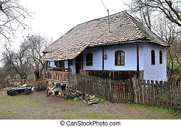 traditionnel, maison, village, hongrois, szekler