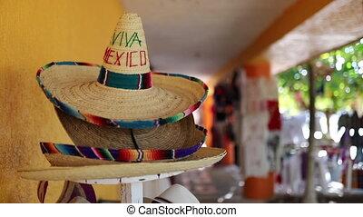 traditionnel, mexicain, mexique, entourer, sombrero, mots, vidéo, autour de, viva