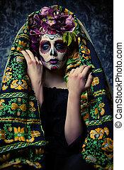 traditionnel, muertos, déguisement