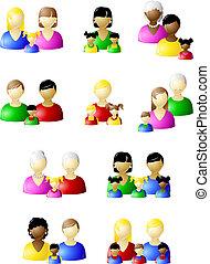 traditionnel, non, ensemble, familles, icône
