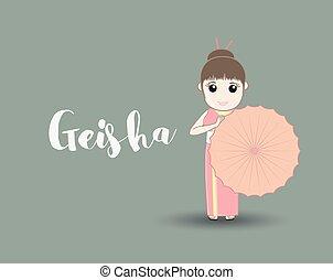 traditionnel, parapluie, geisha