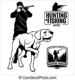 traditionnel, partnership., sien, chasse, rifle., hobby., synergie, chasseur, chien, isolé, regarder, extérieur, white., homme, prey., indicateur, viser, scene.