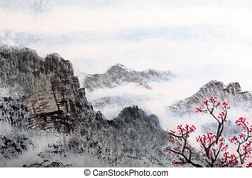 traditionnel, peinture, paysage, chinois