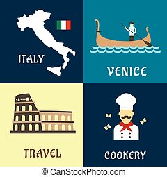 traditionnel, plat, voyage, italien, icônes