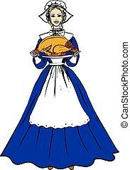 traditionnel, plateau avoirs, turquie, femme, déguisement
