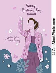 traditionnel, porter, kebaya, indonésien, femme